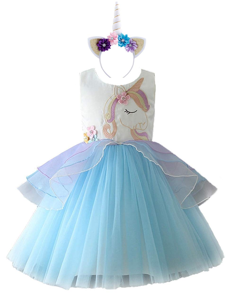 FREEFLY Kids Girls Unicorn Party Fancy Dress for Cosplay Festival Performance Birthday Wedding Carnival Halloween Photo Shoot Prom Ball Gown