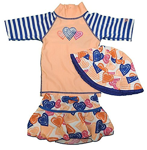 UV Skinz 3 Pc Toddler Girls UPF 50+ Sunwear/Swimwear w/Matching Hat, Size 2T Papaya Hearts (Swimwear Girls Toddler)
