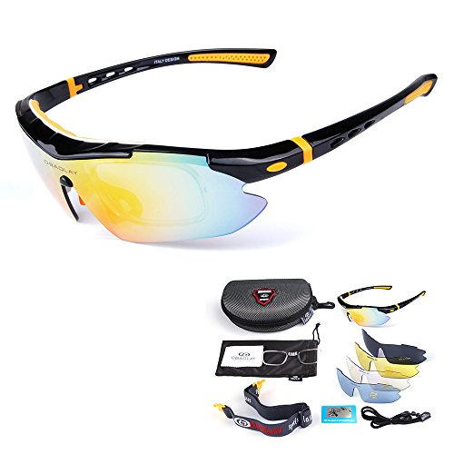 Polarizadas de Gafas Deportivas Ciclismo amp; White Bicicleta Sol Gafas de Orange UV400 amp; Black Lixada WgXRq5g