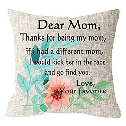 Mothers Day Birthday Gift Beige Linen Cushion Cover Pillow Case With Floral Flower Funny Grateful
