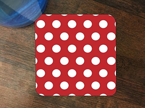 (Red Background with White Polka Dot Polka Dots Pattern Silicone Drink Beverage Coaster 4 Pack by Moonlight Printing )