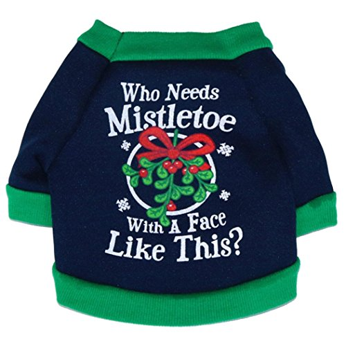 AMA(TM) Christmas Puppy Dog Clothes Cookies Santa Doggy Shirt Pet Costumes Green (M, (Doggie Christmas)
