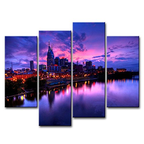 Purple 4 Piece Wall Art Painting Nashville Usa Cumberland River Twilight Lights Prints On Canvas The Picture City Pictures Oil For Home Modern Decoration Print Decor