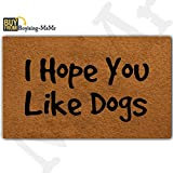 MsMr Funny Doormat Entrance Floor Mat Home Office Decorative Door Mat Non-Slip Rubber Backing 18x30 Inches - I Hope You Like Dogs