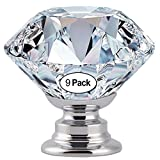 Protocol 9 Pcs 30MM Crystal Clear Glass Cabinet Dresser Knobs Diamond Shape Drawer Door Chrome Glass Cabinet Knobs Pull Handles for Home Office DIY (Clear)