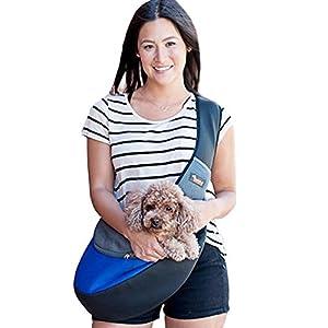 Pet Sling Carrier,Breathable Soft Pet Travel Tote Carrier Pet Sling Shoulder Carry Handbag,Designed for Puppy,Kitty and Rabbits(Updated Version,Blue)