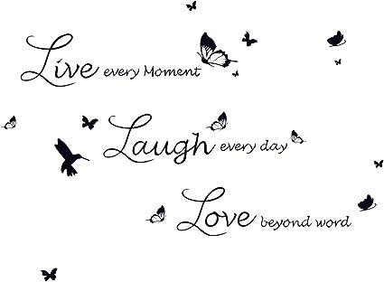 Decalmile Adesivi Murali Frasi Live Love Laugh Farfalle Adesivi Da Parete Camera Da Letto Soggiorno Ufficio Decorazioni Parete Stickers Murali Amazon It Casa E Cucina