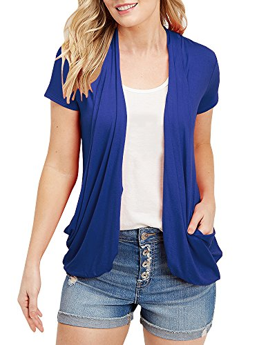 (Womens Cardigans Short Sleeve Summer Plus Size Lightweight Cardigan Blue )