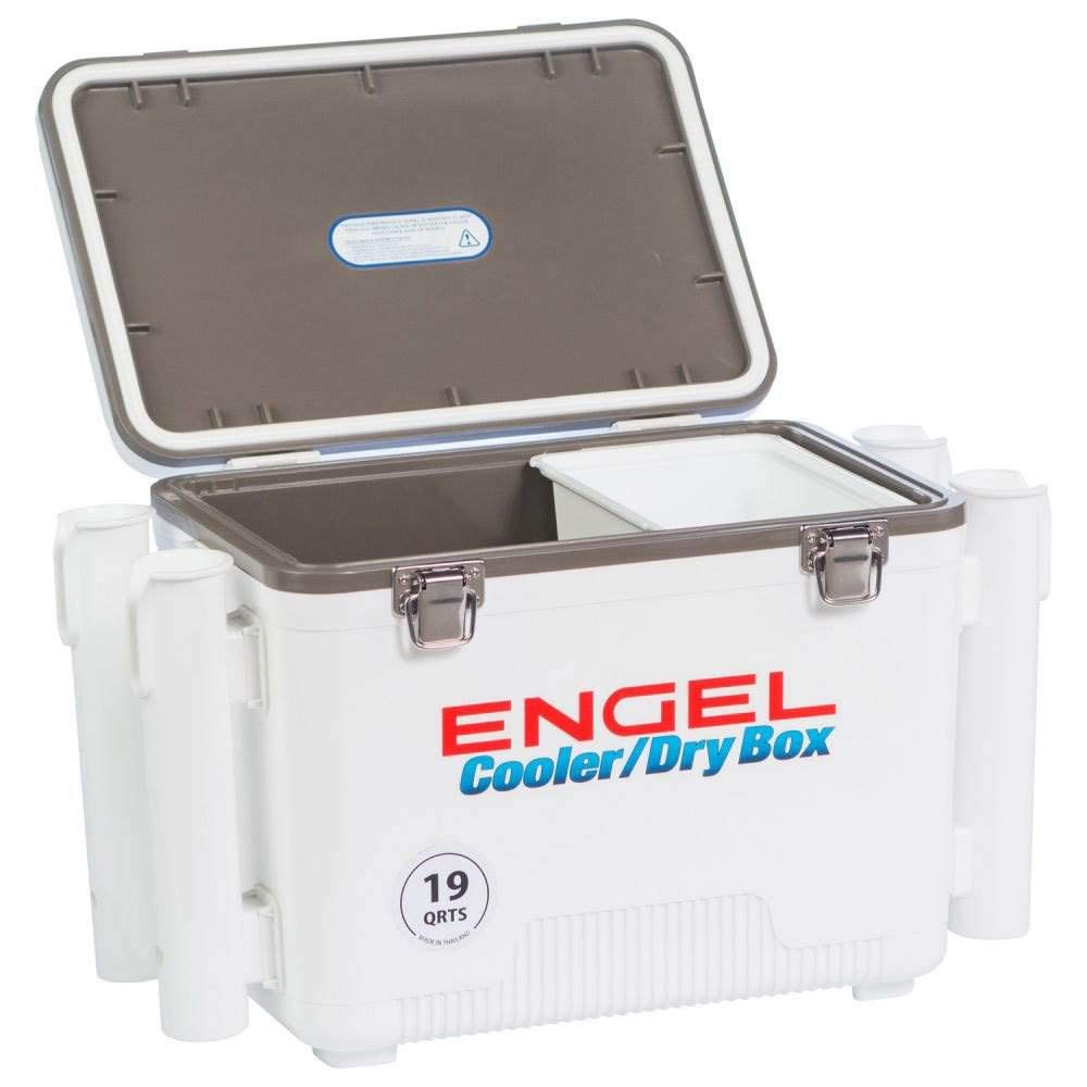 ENGEL Cooler Dry Box with 4 Rod Holders – 19 Qt – White