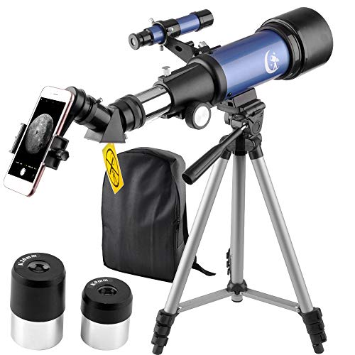 Telescope 70mm Apeture 400mm AZ Refractor Scope Blue- Travel Scope for Kids and Beginners with Backpack, Tripod and Smartphone Adapter to View Moon and Planet (400 Mm Adaptor)