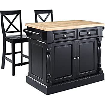 Amazon.com - Crosley Furniture Kitchen Island with Butcher Block Top and 24-inch X-Back Stools ...