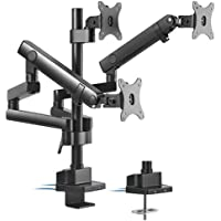 """Brateck Triple Monitor Aluminum Slim Pole Held Mechanical Spring Monitor Arm Fit Most 17""""-27"""" Monitors Up to 7kg per…"""