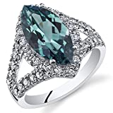 3.50 Carats Marquise Cut Simulated Alexandrite Ring Sterling Silver Size 7