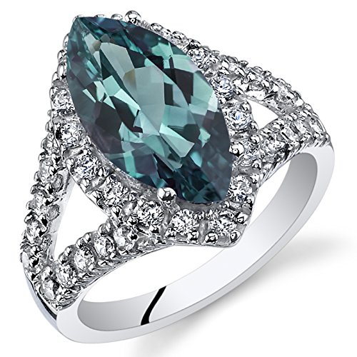 - 3.50 Carats Marquise Cut Simulated Alexandrite Ring Sterling Silver Size 7