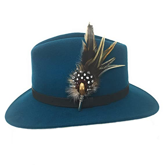 a7ee7c337e8 Ladies Fedora Hat with Country Feather Brooch - Broadway. Teal. (Small -  55cm)  Amazon.co.uk  Clothing