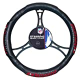 FN 15 X 15 Inches NFL Buccaneers Steering Wheel Cover, Football Themed Three Sides Team Logo Name Rubber Grip Sports Patterned, Team Logo Fan Merchandise Athletic Team Spirit, Black Red Grey, Pvc