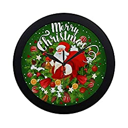 NQEONR Modern Simple Santa Gift Bag Greeting Card Christmas Wall Clock Indoor Non-Ticking Silent Quartz Quiet Sweep Movement Wall Clcok for Office,Bathroom,livingroom Decorative 9.65 Inch
