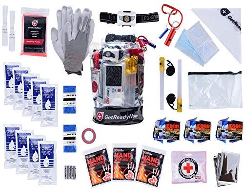 GETREADYNOW 72-Hour kit Grab & Go Emergency Kit with Essential Survival Supplies for 3 Days - Hurricane, Earthquake, Tornado Disaster Preparedness Kit - Heavy Duty Waterproof Bag