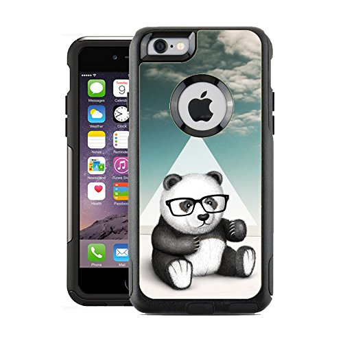 Protective Designer Vinyl Skin Decals for OtterBox Commuter iPhone 6 / 6S Case / Cover - Hipster Baby Panda Geek Glass Design Pattern - Only SKINS and NOT Case - - Hipster Geek