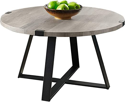 Amazon Com Round Coffee Table Wood And Metal Side End Table