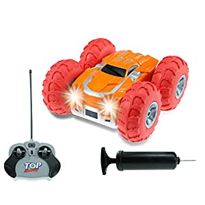 VGAzer Inflatable Balloon-Tire High Speed Cyclone Jumping RC Stunt Car 360°Spins,Jumps,Flips,Tumbles With Dual Face and LED Headlights Radio Remote Control RC Car Toy for Kids Adults-Colors May Vary