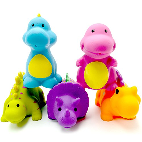 Candice's Sweety Baby Bath Toys - Set of 5 Dinosaur Water Squirter Non-toxic Bath Tub Toy for Toddler