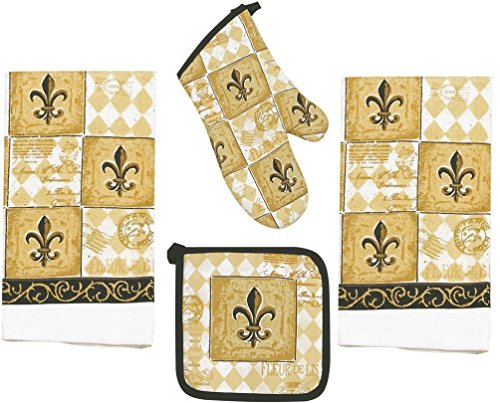 Amazoncom 4 Piece Majestic Fleur De Lis Kitchen Set 2 Terry