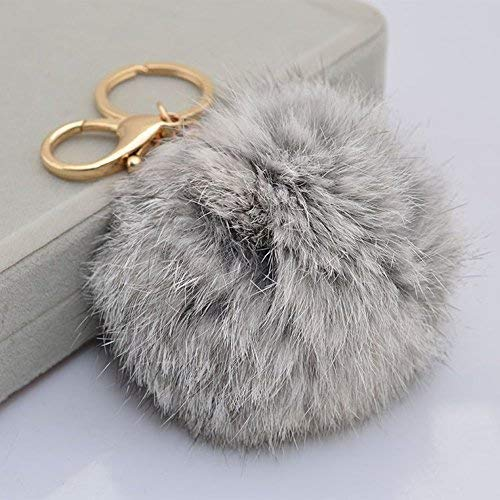 Miraclekoo Rabbit Fur Ball Pom Pom Keychain Gold Plated Keychain with Plush for Car Key Ring or Handbag Bag Decoration (Grey)