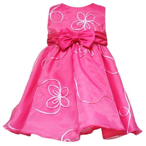 Rare Editions Baby 12M-24M Fuchsia-Pink Bow Front Soutache Party Dress