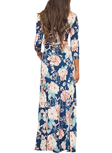 Dokotoo Womens Plus Size Ladies Boho Casual Summer Floral Print Amazon Maxi Long Dresses For Juniors Blue Large