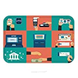 Flannel Microfiber Non-slip Rubber Backing Soft Absorbent Doormat Mat Rug Carpet Flat Concept Vector Illustration Set Of Payment Methods Such As Credit Card With Website Nfc 226894729 for Indoor/Outdo