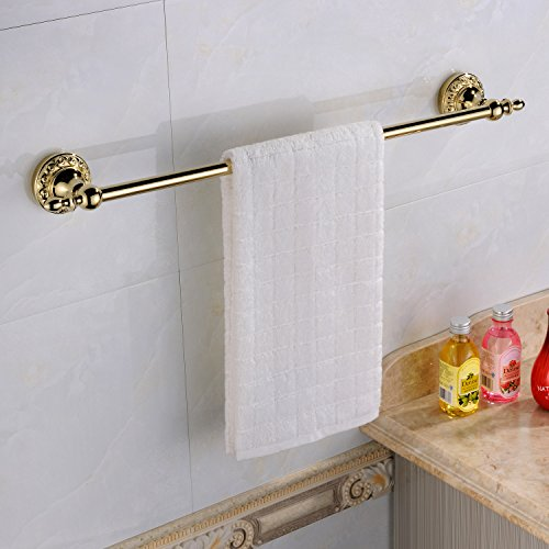 Leyden Wall Mount Bathroom TI-PVD Gold Finish Brass Material Towel Bars Racks