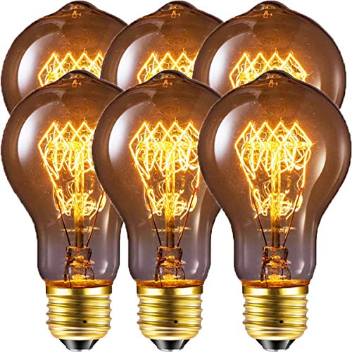 (Edison Bulb, FadimiKoo Vintage Bulb 60W Dimmable A19 Squirrel Cage Filament Edison Lihgt Bulb For Home Light Fixtures Decorative, Pack of 6)