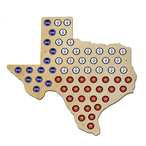 Texas Beer Cap Map - Holds Craft Beer Bottle Caps