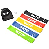 Elete Exercise Resistance Bands | Set of 5 Resistance Loops- Extra Light to Extra Heavy Resistance | 12 Inch Work Out Bands and Instruction Guide | Perfect for Gym, Fitness, Yoga