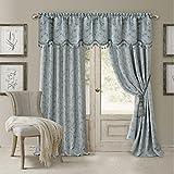 Elrene Home Fashions 026865901467 Blackout Energy Efficient Room Darkening Rod Pocket Window Curtain Drape Regal Jacquard Woven Panel, 52″ x 84″, Blue Review