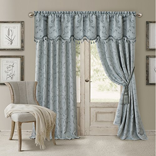 Elrene Home Fashions 026865901467 Blackout Energy Efficient Room Darkening Rod Pocket Window Curtain Drape Regal Jacquard Woven Panel, 52″ x 84″, Blue Review