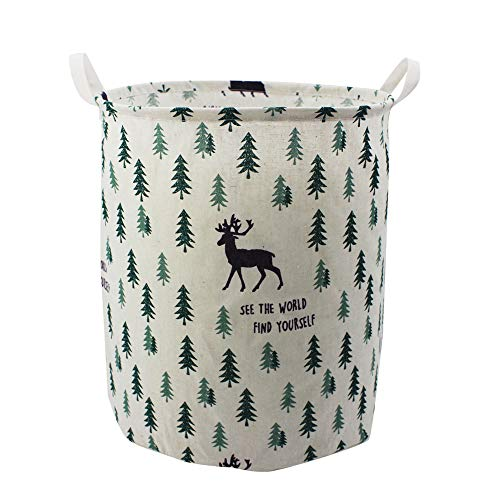 Mziart 19.7 Large Cute Toy Storage Bins Organizer Round Cloth Storage Basket for Nursery Kids Baby, Canvas Foldable Laundry Hamper Bag, Collapsible Waterproof Laundry Basket Sorter (Forest Deer)