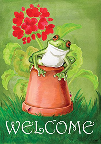 Toland Home Garden 119122 Potted Frog Flag, Garden 12.5