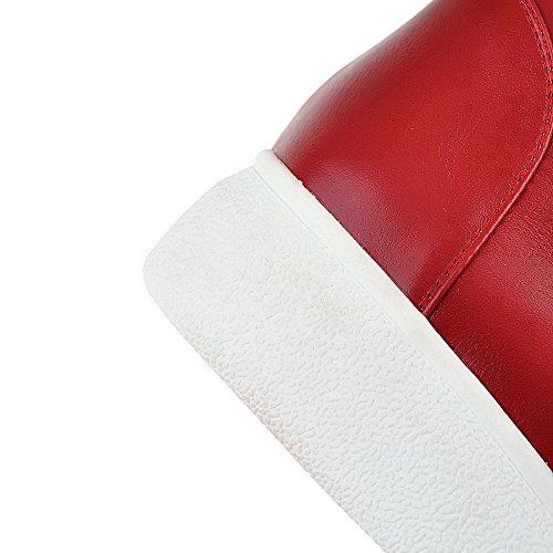 Allhqfashion Mujeres Pu Low-top Solid Hook-and-loop Botas De Tacón Bajo Rojo