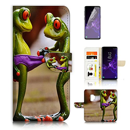 (For Samsung S9+ / Galaxy S9 Plus ) Flip Wallet Style Case Cover, Shock Protection Design with Screen Protector - B31080 Frog Girl (Frog Jewellery Great)