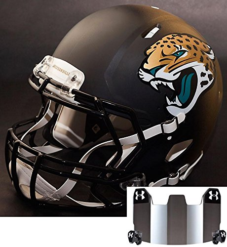 Riddell Speed JACKSONVILLE JAGUARS NFL REPLICA Football Helmet with S2BD Football Helmet Facemask/Faceguard and MIRRORED Eye Shield/Visor by Riddell