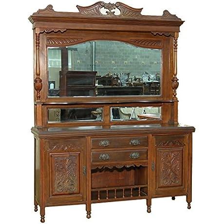 C1899 Antique English Large Victorian Walnut Mirrorback Sideboard Buffet Server