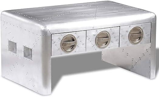 vidaXL Aluminum Aviator Coffee Side Bedside Storage Table Nightstand 3 Drawers