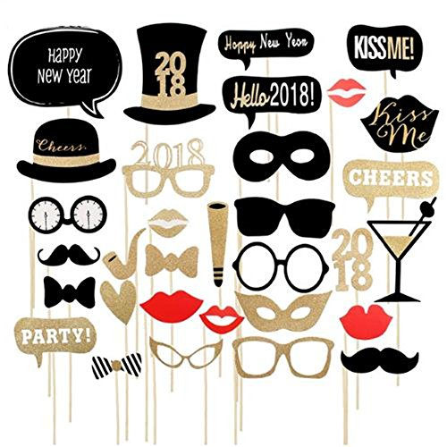 Koolemon 32pcs/Set 2018 Happy New Year Eve Photo Booth Props Decor Hats Glasses Christmas Party Decorations (New Year 2018)