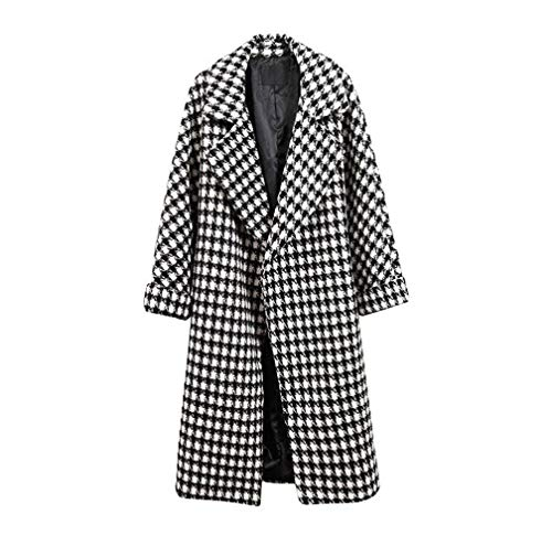 Houndstooth Coat - WOCACHI Womens Lapel Shift Coat Houndstooth Cardigans Overcoat Long Trench Coats Winter Outerwear Warm Parka Cotton Padded Jackets Big (Black, XXX-Large)