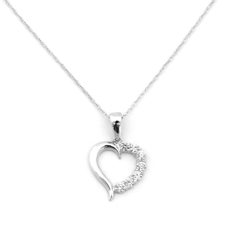 5b4b1cba677 Amazon.com  Beauniq 14k White Gold Small Cubic Zirconia Open Heart Pendant  Necklace - Pendant only  Jewelry