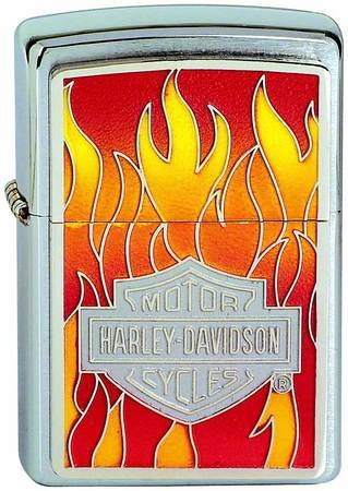 Brushed Chrome, HD Flames Emblem (ZI20868) Category: Harley-Davidson Zippo Lighters]()