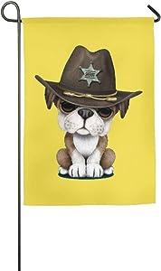 PANQJN Hattgg Decor Sheriff Spring Lawn Yard House Garden Flags 12 X 18 Semi Transparent Polyester Fiber Emblemize