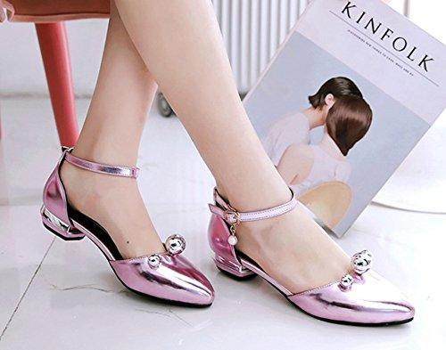 Aisun Moda Donna Con Perline Abito A Punta Chiusa Fibbia Dorsale Sandali Con Tacco Basso E Cinturini Alla Caviglia Rosa 5